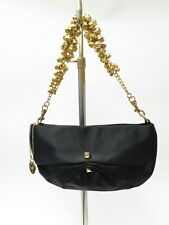 Love Moschino Bag Studded Ruched Satin Convertible Clutch Black Gently Used