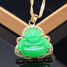 Bride Green Jade White Lucky Happy Buddha Pendant Free Necklace