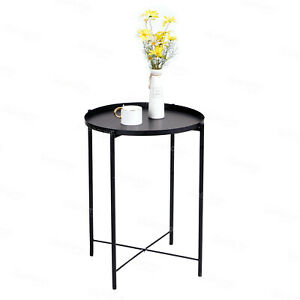 Black Metal Side Table Round End Sofa Table Detachable Tray Top Terrace Balcony