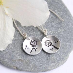 Ethnic Long Thread Dangle Circle Earrings Dandelion Flower Print Morocco Jewelry