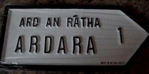"""ARDARA Old Style Handpainted CAST Irish ROAD SIGN 10.25"""" x 4.5"""" inch Co Donegal"""