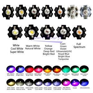 1W 3W 5W  Power LED SMD Chip UV White Blue Deep Red Orange RGB Beads With PCB