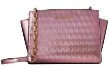 NWT Michael Kors SELMA Quilted MD TZ Patent Leather Messenger Bag SOFT PINK $248