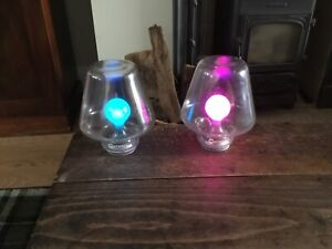 New boxed pair Mathmos Poplight colour changing mouth blown led lamps blue pink