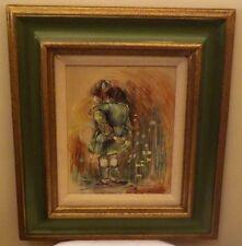 Barbara Hess Mercier Signed Original Painting - Girl with Boy Riding Piggyback