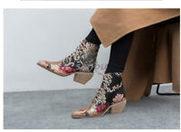 Womens Lace Embroiry Floral Lace Up Ankle Boots Block Heel Fashion Casual Shoes