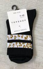 Ladies/Girls Black Animal Print Striped Cotton Tube Ankle Socks