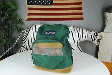 Vintage 90s Jansport USA Made Backpack Green  Book Bag Leather Suede