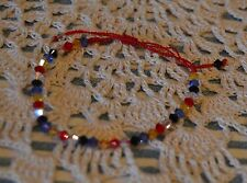 PRETTY LITTLE PATRIOTIC CRYSTAL FRIENDSHIP BRACELET~PULL ENDS 2 FIT~PRECIOUS~EUC