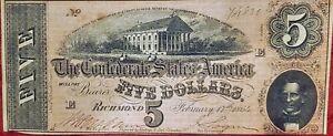 1864 $5 CONFEDERATE CIVIL WAR CURRENCY NOTE ~ CONFEDERATE CAPITOL AT RICHMOND ~