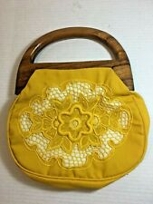 Vintage Yellow Cloth Wooden Handles Purse Decorative Embroidered Crochet Panel