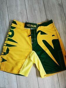 MMA VENUM SHORTS UK SIZE 32 - GREEN AND YELLOW. PREOWNED. HARDLY WORN.