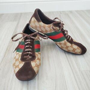 Gucci Guccissima Men SuedeCanvas Original Signature Web Sneakers 117711 Sz 43/10