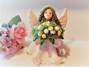 Angel Figurine Best Friend Sister Handcrafted Polymer Clay Vintage 1990s