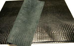 "Large Crocodile panels 4 pieces Black Top Quality Large 18"" x 24"""