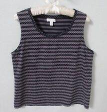 Charter Club Petites purple striped dot print cotton sleeveless tank top *Sz PL*