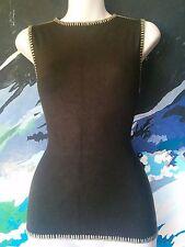 LAURA ASHLEY Top- Chocolate Brown Sleeveless Boho Vest- Stitched Border- S -8/10