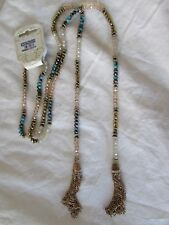 Beaded Strand Gold Iridescent & Turquoise Beads w Chain Tassels Necklace NWT 51""