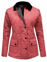 Size 18 20 New Ladies Coral Red Quilted Padded Zip Popper Jacket Women's Coat