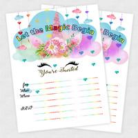 20 Unicorn Invitations Girl Birthday Invitation Baby Shower Girls Rainbow Card