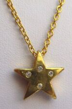 pendentif collier doré or fin étoile avec incrustation cristal diamant 2403