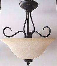 New Oil Rubbed Bronze semi flush pendant bowl light tea stain glass