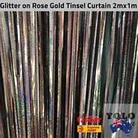 1x2m Rose Gold Glitter Holographic Tinsel Curtain Party Event Decor Birthday AUS