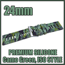 • 24mm Camo Green, Diver, ISO Style, Silicone Rubber, High Quality Watch Strap •