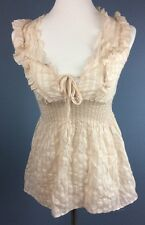 Miss Me Top Sheer Beige Striped Tunic Blouse Sleeveless Tank Front Tie Ruffles