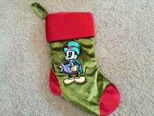 Mickey Mouse Christmas Holiday Caroling Velvet Green Olive Stocking