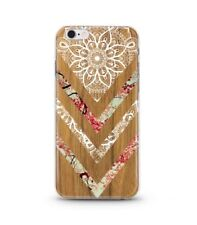 Coque GEL IPHONE 6 6S Effet Bois Marbre Mandala Fleur Blanc Chic