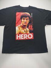 "VTG 00s Bruce Lee ""HERO"" Portrait Licensed Martial Arts Tee T-Shirt Size 2XL"