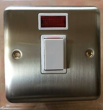 Deta Kingsway Brushed Steel / Satin Chrome Switch Neon 20A Double Pole (DP)