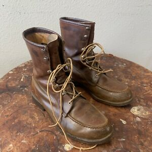 """Vintage Red Wing Irish Setter 8"""" Moc Toe Boots 10D Hunting Motorcycle Work"""