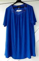wunderschönes Damenshirt Shirt Polyester Elasthan Satineinsatz royalblau Gr. 48