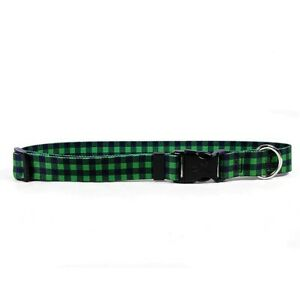 NEW St. Patrick's Green Buffalo Plaid Dog and Cat Collar by Yellow Dog Design