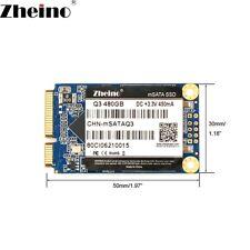 Zheino Msata SSD 480GB 3D Nand Flash TLC Internal Solid State Hard Drive