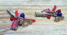 Jack/Big Ben Design/Clip On Novelty Silver Tone Earrings/British Themed/Union