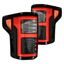 Recon Black/Smoke Fiber Optic LED Tail Lights for 15-17 Ford F150 17-18 Raptor