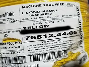 Carol 76812 #14awg Stranded Bare Copper PVC Hook Up Wire AWM MTW Yellow /100ft