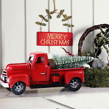 Movable Vintage Christmas Decor Red Truck Kids Xmas Gift Table Desk Decor