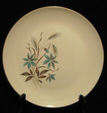 "Vtg Georgian China Canadian Wheat 10.25"" Plate Turquoise Aqua Brown w/Gold Trim"
