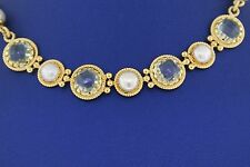 """Fancy Ladies 18k Yellow Gold Pearl & Paradox Necklace, 18"""". 10.8gm"""