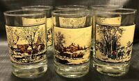 Complete SET Arbys Currier and Ives Collector Series Winter Tumbler Glasses