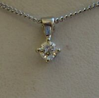 New Diamond Solitaire 9ct White Gold Pendant Necklace & Gold Chain £125 Freepost