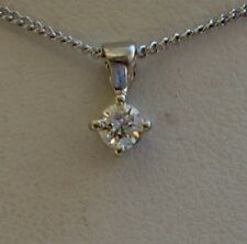 New 0.15ct Diamond Solitaire 9ct White Gold Pendant Necklace & Gold Chain £120