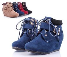 Navy nn Faux Suede Girls Wedge High Heels Kids Ankle Boots Youth Shoes Size 11