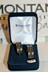 NIB  Montana Silversmiths Earrings~Black & Gold Thick 3/4 Hoop #ER3722BN MSR$55.