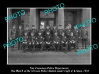 OLD LARGE HISTORIC PHOTO OF SAN FRANCISCO POLICE MISSION POLICE STATION 1930