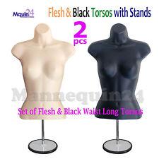 Flesh Amp Black Mannequin Female Torso Dress Forms Set With2 Metal Stands 2 Hangers